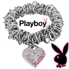 Playboy Bracelet Heart Charm Bunny Logo Pink Crystal Stretch 50th ANNIVERSARY