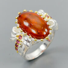 Handmade SET Natural Amber 925 Sterling Silver Ring Size 7.75/R121520