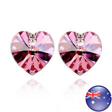 Heart Wedding Stud Birthday Earring Xe44 Women's White Gold Plated Pink Crystal