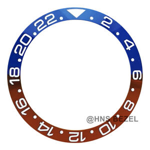 CERAMIC BEZEL FOR ROLEX 40MM GMT MASTER II PEPSI BLUE RED WHITE NUMBERS ENGRAVED