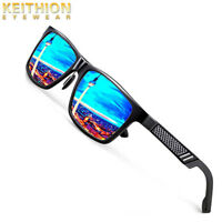 KEITHION Men's Hot Retro Driving Polarized Sunglasses Metal Frame Mirror eyewear