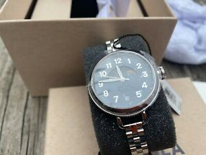 Shinola Birdy 34mm Moon phase slate blue dial with metal Band - New