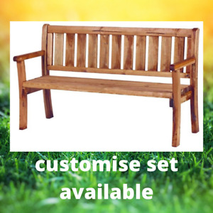 SOLID WOOD Garden Patio Furniture Bench seat 3 seater 150cm +ADD table chair set