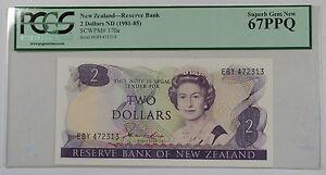 (1981-85)New Zealand Reserve Bank $2 Note SCWPM# 170a PCGS 67 PPQ Superb Gem New