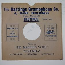 "10"" 78rpm gramophone record sleeve HASTINGS GRAMOPHONE CO 4 bank buildings"