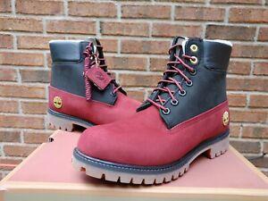 """NIB Mens Timberland 6"""" Premium Warmlined boots sz 9 TBOA2MJM red nubuck black"""