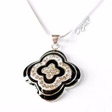 925 Sterling Silver Rhinestone Black and White Enamel Clove Pendant Necklace