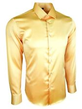 MENS SATIN SHIRT FOR WEDDING FORMAL SMART SILK FEEL LONG SLEEVES £17.99(422)