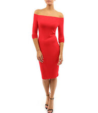 Women off Shoulder Long Sleeve Bodycon Cocktail Party Evening Dress Red UK 6-8