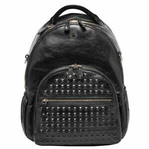 Kerikit JOY XL Leather Black Studded Backpack Changing Travel Laptop RRP £395