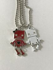 Couple Robot Necklace Silver ball beaded chain Boyfriend & Girlfriend pendant