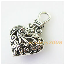 3 New Purse Heart Flower Tibetan Silver Tone Charms Pendants 19x31mm
