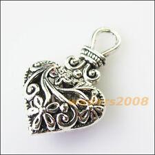 2 New Purse Heart Flower Tibetan Silver Tone Charms Pendants 19x31mm