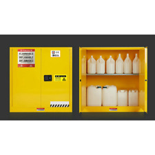 30 Gallon Yellow Safety Storage Cabinet Manual Close Welded Flammable Liquid New