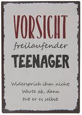 """Ib Laursen Metallschild """"Vorsicht freilaufender Teenager"""" Dekoschild Wandschild"""