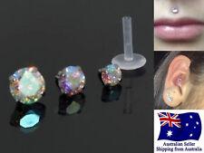Acrylic 16g Stud With Prong Aurora CZ Set Labrets Tragus Monroe Lip Earring 1pc