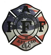 """The 4"""" IAFF Union Patriot flag Reflective Vinyl Firefighter Us Made Window Decal"""