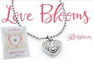 NWT Brighton LOVE BLOOMS Heart Petite Silver Reversible Necklace MSRP $42