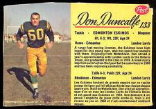 1963 POST CFL FOOTBALL #133 Don Duncalfe VG-EX Edmonton Eskimos