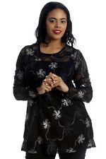 New Ladies Plus Size Top Womens Floral Lace Foil Print Long Sleeve T-Shirt Party