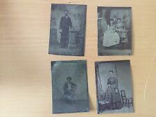 GROUP OF FOUR FAMILY FAMILY MEMBERS Four Tintypes - Two Men Three Women