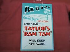 """Old Taylor's Brewery """"Ram Tam"""" Card Sign circa 1950s"""