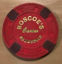 OLD VINTAGE 1983 CALIF CARD ROOM CHIP - $5.00 - ROSCOES CASINO - PRUNEDALE CA
