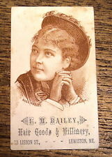 Antique Advertisting Trade Card - L.M. Bailey Hair Goods & Millinery Lewiston ME