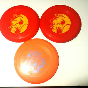Lot of 3 Wham-o Frisbee Discs Red Orange Tiger Bull NEW