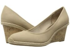 Life Stride Listed Natural Canvas Beige Wedge Heel Shoes Women's Size 10 Wide