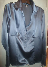 SATIN FEEL DARK BLUE BLOUSE FROM MOSSIMO-LADIES SIZE XXL-NEW WITH TAGS