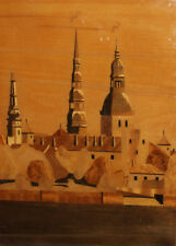 Vintage hand made lacquer wood cityscape wall decor plaque
