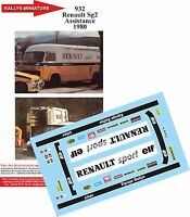 DECALS 1/43 REF 932 RENAULT SG 2 ASSISTANCE RALLYE RENAULT 5 TURBO RAGNOTTI 1980