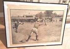 "Original Baseball ""Thrown Out At Second"" Antique Print Harper's Weekly."
