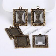 5Sets Tibetan Style Pendant Glass Cabochon Settings Rectangle Antique Bronze DIY