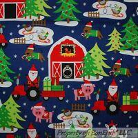 BonEful Fabric FQ Cotton Quilt Blue Red Green Barn Xmas Santa Animal Farm Pig US
