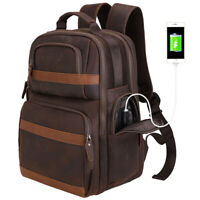 """Men Real Leather Travel Backpack 15"""" Laptop Bag Hiking Camping Carry On Daypack"""