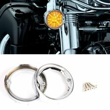 Chrome Deep Dish Turn Signal Bezels For Harley Touring Electra Glide FLHT FLHR