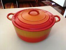"""Le Creuset """"E"""" 4.5 Qt Round Dutch Oven w/ Lid...Flame Orange"""