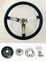 """67 68 Buick Skylark GS Riviera Black on Chrome Steering Wheel 15"""" Foam Grip"""