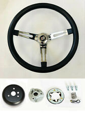 "67 68 Buick Skylark GS Riviera Black on Chrome Steering Wheel 15"" Foam Grip"