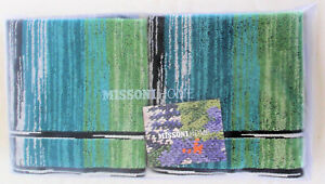 MISSONIHOME 2 HAND TOWELS COTTON BRANDED PACKAGING STANLEY red or green  40x70cm