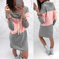 Womens Winter Hooded Hoodies Sweatshirt Casual Long Sleeve Sport Lady Mini Dress