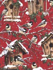 Timeless Treasures ~  Chickadee Bird House Snow ~ 100% Cotton Flannel Fabric BTY
