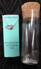 "Kohl's 16-18"" Fine Silver Plated LADYBUG HUGS Pendant Charm Necklace NEW GIFT!!!"