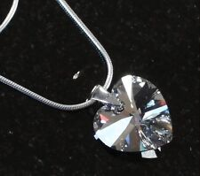 925 Silber Hals-Kette mit Swarovski® Kristallen Herz-Kette spiegelnd Schmuck