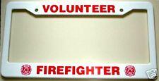 VOLUNTEER FIREFIGHTER License Plate Frame w/ Fire Department Maltese Crosses