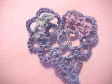 Tatted BLUE Heart Tatting For Scrapbooks Crazy Quilts Applique Cards Earrings