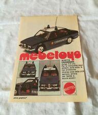 "PUBBLICITA' ORIGINALE ADVERTISING MODELLINO ""ALFETTA CARABINIERI"" MEBETOYS 1978"