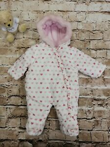 Baby Girls Tu Cream Heart Pram Suit With Hood Age Up To 1 Month 9lb